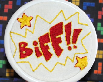 Biff! Comic Book Inspired Hand Embroidered Hoop