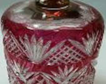 Antique Brilliant period cranberry cut to clear covered jar