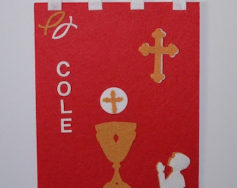 DIY Felt Communion Banner Kits - Red with Gold & White Pieces
