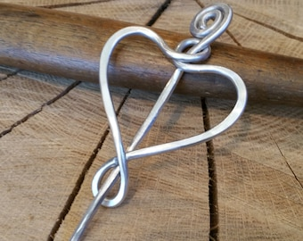 Aluminum Simple Heart Shawl Pin, Valentines Day Gift Sweater Brooch, Scarf Pin, Fastener, Closure, Knitting Accessories, Women, Wife, Mother