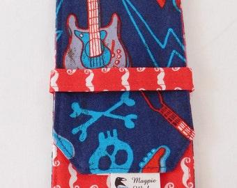 Sock DPN Knitting Needle Case Crochet Hook Holder Navy and Red Rock Guitars
