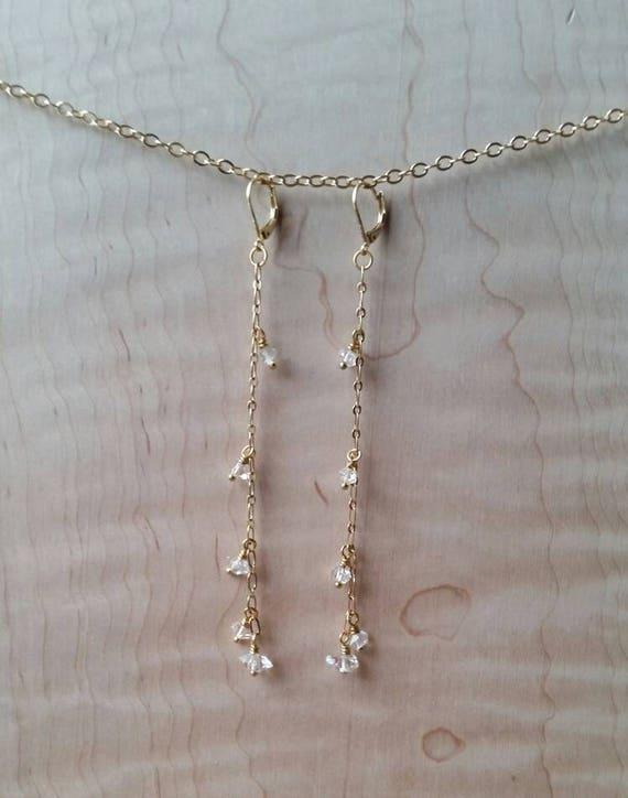 Herkimer diamond brass dangle earrings extra long