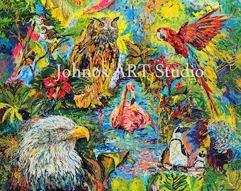 Aviary art, Bird art, Eagle art, Owl print, Flamingo art, Penguin art, Avian wall art,Pittsburgh artist, by Johno Prascak, Johnos Art Studio