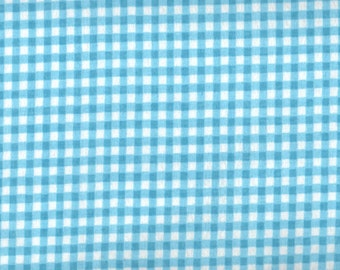 Blue Flannel, Blue Fabric, Baby Blue Fabric, Blue Checker Fabric, Blue Gingham Flannel Fabric, 01281