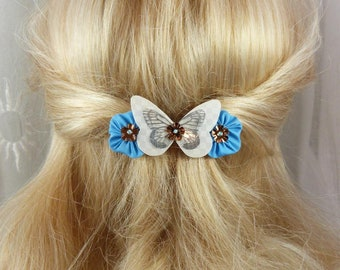 Barrette French 6 cm butterfly and flowers of silk white and blue Ombre, Spring - collection Mia, made in France