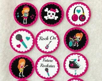 Set of 50/100/150/200 Girl Rockstar Red Hair Birthday Party  1 Inch Confetti Circles