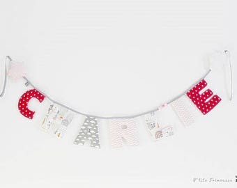 Fabric Garland 6 letters first name of your choice + 2 subjects.