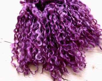 Teeswater Locks separated/ color burgundy, Soft Curly, long 7-9 in wool locks /Art Dolls,Blythe Doll/spinning and felt