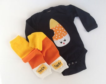 Halloween angry candy corn one piece and trick or treat leg warmers