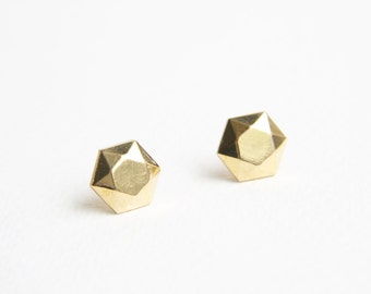 Polished faceted brass stud earrings