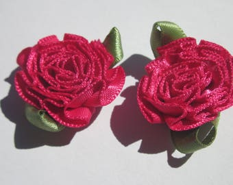 2 large bows in colorful fabric - flower 25mm width approx (A118)