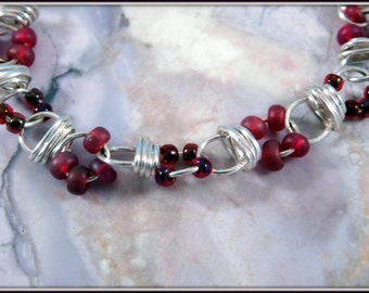 Silver and burgundy bracelet, wire wrapped bracelet, Silver Wire Link Bracelet, Red Berry Bracelet, Gift For Her, Handmade Jewelry,