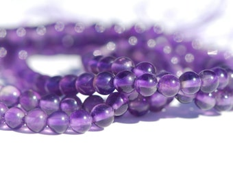 Natural Color Purple Amethyst, 4 mm round beads, 15 inch strand