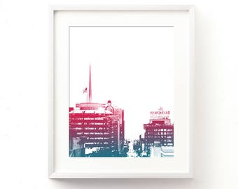 Hollywood print, Hollywood download, Los Angeles printable, Capitol Records photo, LA wall art, teenager decor, loft wall art, red, blue