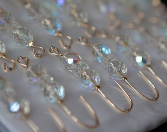 Christmas Ornament Hanger Hooks - Crystal Beads | Gold Wire - FREE SHIPPING