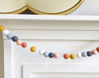 Fall Felt Ball Garland, Banner, Bunting - Gray, Peach, Coral, Ivory, and Mustard