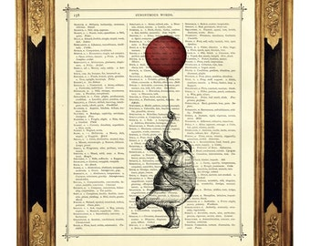 Elephant Art Print red Balloon Dictionary Art - Vintage Victorian Book Page Art Print Steampunk Wall Poster Birthday Gift Nursery