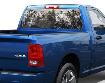 Zombie broken glass Rear Window Graphic Decal Sticker Truck SUV