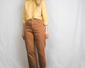AMAZING Vintage Ochre Linen Blouse / S / 90s hipster button up blouse structured blouse yellow blouse