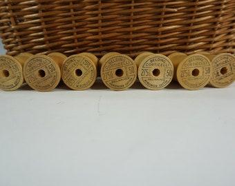 "Vintage Empty Wooden Thread Spools, 7 Corticelli Sewing Spools, Empty Wood Spools, Vintage Craft Spools, 1 3/4"" H Spools, Free Ship"