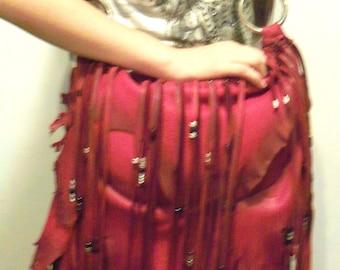"Designer Leather Purse ""PIRATE FIRE"" Ruffled Natural Edge Fringed Handbag Artisan Hippie Retro Bag Handmade by Debbie Leather"