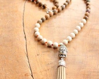 Buddha necklace, Buddha tassel necklace, jasper necklace, long jasper necklace, long gemstone tassel necklace, cream tassel