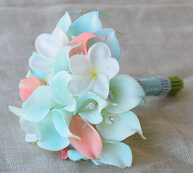 Mint Silk Flower Wedding Bouquet Robbin\'s Egg and Coral