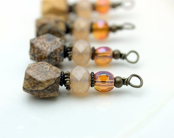 Varigated Agate and Crystal Vintage Style Bead Dangle, Charm, Drop Set, Earring Dangle, Jewelry Making, Pendant