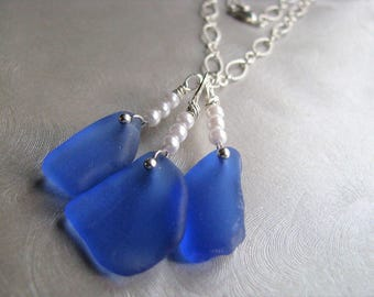Beach Glass Necklace - Showstopper Necklace - Sea Glass Necklace - Cornflower Blue Necklace - Sea Glass Jewelry - Statement Necklace