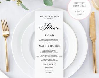 Wedding Menu Template. Menu Card Template. Menu Template. Printable Menu. Editable Wedding Menu. Editable Menu. Printable Wedding Menu. (BR)
