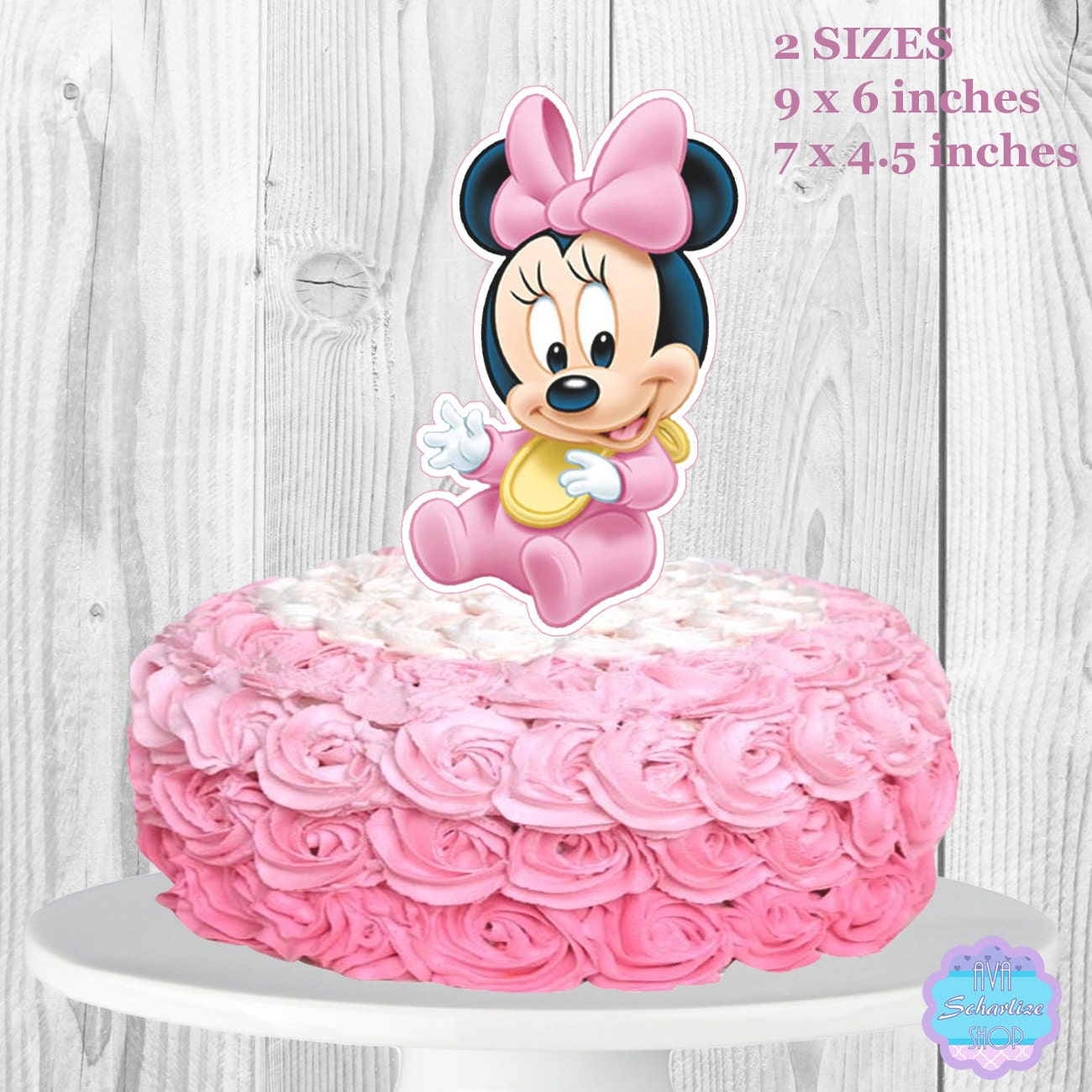 Baby Minnie Mouse Cake Topper Baby Shower Cake Topper Diaper
