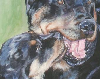 Rottweiler dog art CANVAS print of LA Shepard painting 8x10