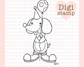 Clown Dog Digital Stamp - Clown Digital Stamp - Dog Stamp - Clown Art - Dog Clown Craft Supply