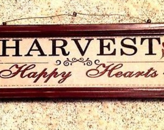 "Wall Plaque Harvest Happy Hearts Wood Frame Oak Leaves 19"" x 6"""