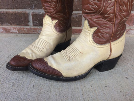 brown cream TONY shoes western stitched vtg two womens LAMA western hippie heels boho Cowboy tone 70s leather rockabilly BOOTS 6 RxFqx4