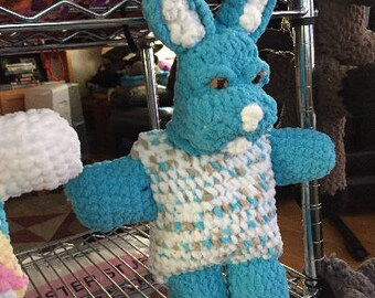 Weighted Toy, Weighted Therapy Animal, Weighted Teddy Bear, Weighted Animal Sensory, crochet doll, anxiety relief, blue bunny, rabbit