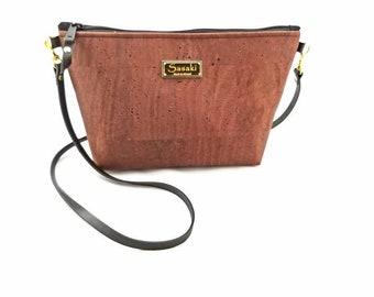 MTO - Brown Cork Bag - Crossbody Purse -leather strap