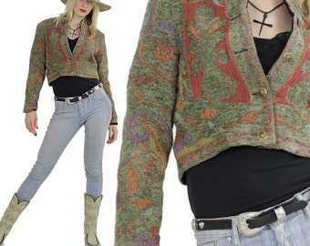 Southwestern jacket cropped Festival tribal woven button up Hippie embroidered vintage 1980s Small