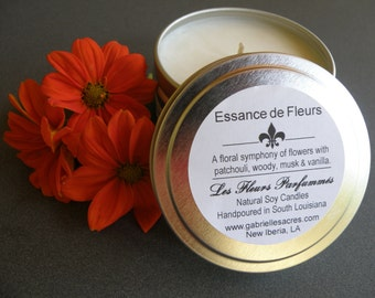 Essance de Fleurs Soy Candle - 6 Oz Travel Tin - Floral Scented - Natural Soy Candle