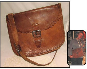 Old Brown Leather Crossbody Bag Sachel Purse, Spain, Buckle Closure