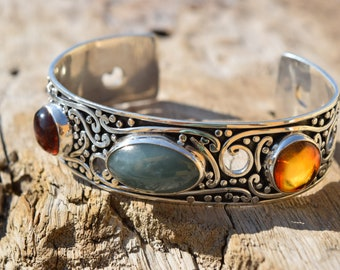 Unisex Natural Blue Jade and amber cabs set in 950 Sterling Silver cuff Bracelet Handmade.