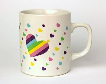 Vintage 1984 Rare Sanrio Rainbow Hearts Ceramic Coffee Mug - Made in Japan