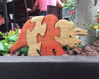 Wooden game, Wooden toy, kids gift, Dinosaur, puzzle, wooden Triceratops puzzle, wood dinosaur, jigsaw puzzle, wooden puzzle, wood puzzle.