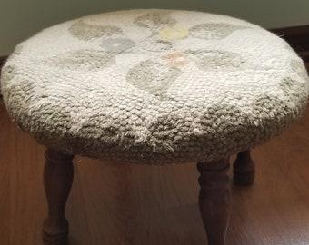 Foot Stool / Maple Foot Stool / Vintage Foot Stool / Tapestry Foot Stool / Retro Foot Stool / Vintage Furniture / Photo Prop