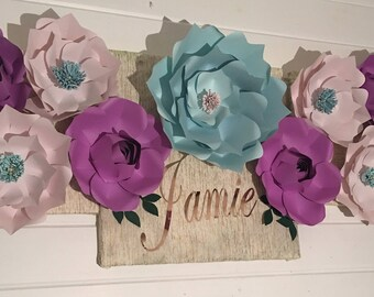 Personalized Wall Art Paper Flower on canvas art paper flower wall art baby room design baby room decor wall art baby room child's room kids