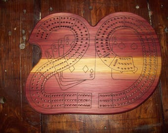 """Basic Single Wood Species """"29"""" Laser-Engraved 3-Player Continuous Track Cribbage Board"""