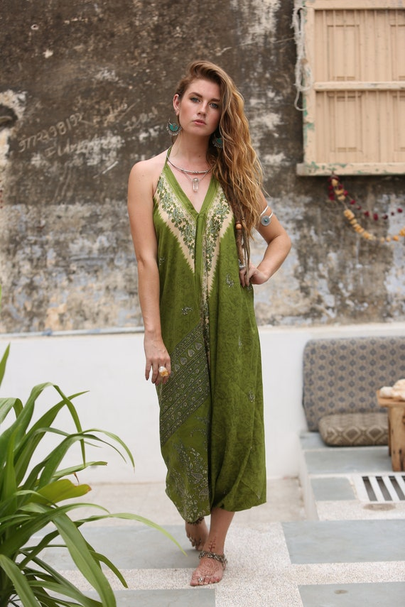 INDIAN DREAM JUMPSUIT - Summer - Wedding - Festival - Handmade - Vintage - Hippie - Backless - Couture - Up cycle - All in one - Harem