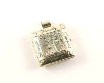 Vintage Tree of Life Strength Family Support Love Locket Pendant 925 Sterling PD 187