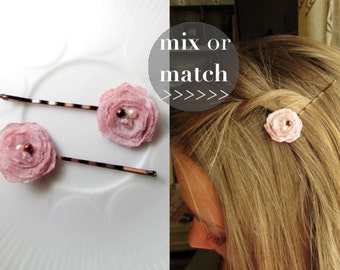 "2 Tiny Dusty Rose Quartz Pink Blush Hair Accessories Small Hair Clips Women, Vintage Floral Hair Pins, Decorative Bobby Pin 1"" barrette"