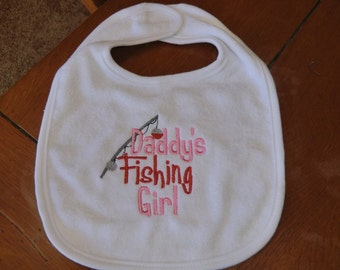 Embroidered Baby Bib - Daddy's Fishing Girl